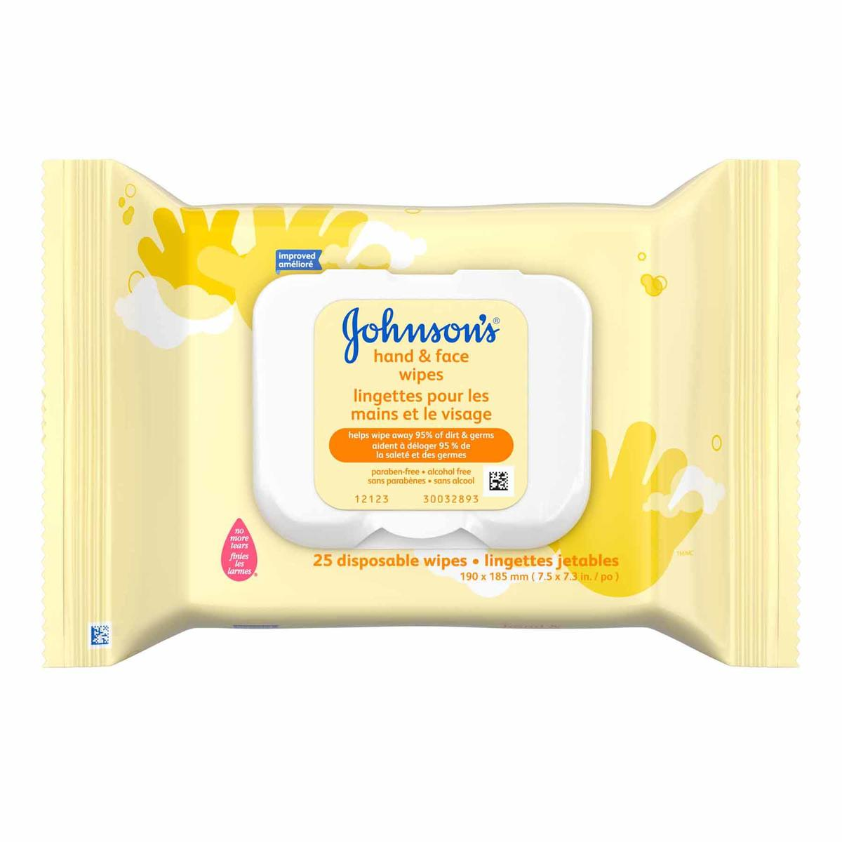 JOHNSON'S® hand and face baby wipes front hero