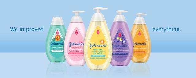 new & improved  five Johnson's® baby products lines up