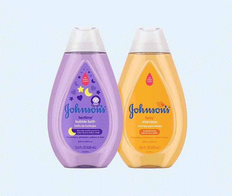 Johnson's bedtime bubble bath and Johnson's baby shampoo